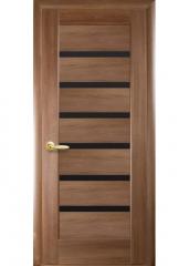 Дверь  Ностра золотая ольха Линнея (с чёрным стеклом) ПВХ DeLuxe Новый стиль