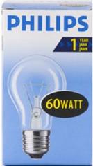 Лампа накаливания прозрачная  60Вт 220В Е27 'Philips'