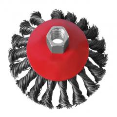 Щетка-крацовка для УШМ конусная плетен. проволока (сталь) (М14), 125мм  Intertool BT-4125