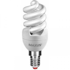 Лампа энергосберегающая   9Вт  220В Е14 4100K 'Maxus' T2 Slim full spiral 1-ESL-218-1 (гарантия три
