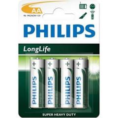 Батарейка минипальчиковая Philips Longlife солевая LR03 AAA blister 4шт, 1шт