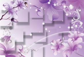 фотообои 3D векторные лилии и квадраты 16995