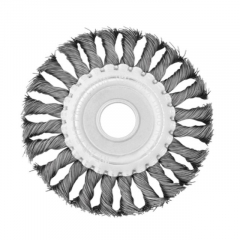 Щетка-крацовка для УШМ кольцевая (плоск) плетен. провол. (сталь) (22,2мм), 115мм  Intertool BT-7115