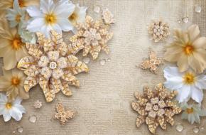 фотообои 3D броши и цветы 17619