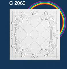 Плитка потолочная пенополистирольная C2063 Белые Стеклянное небо Solid 1м2