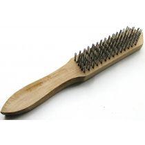 Щетка ручная  (сталь 5 рядов, деревянная ручка)   Intertool BT-0003
